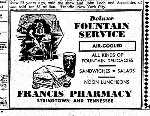 Francis Pharmacy had a soda fountain and was air-conditioned