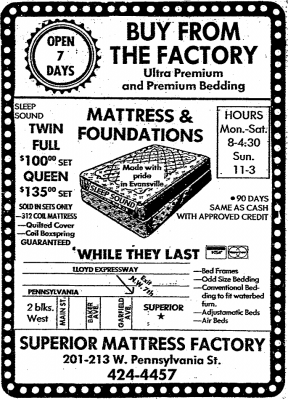 Superior Mattress ad 1988