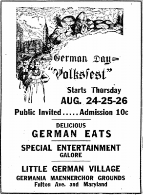 Advertisement for 1939 Volksfest