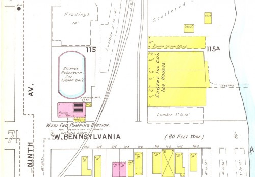 Map of the West End Pumping Station (1895 Sanborn)