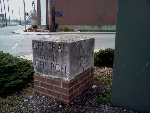 Cornerstone of the old Central ME Church still on display
