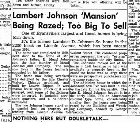 "To be razed - Johnson ""mansion"" (Jan 10, 1955)"