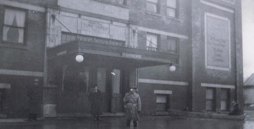 Great picture during the 1937 Flood showing detail of the building's original entrance (Courtesy 1937 Flood book)