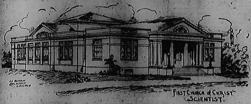 Architect's sketch of the new First Church of Christ, Scientist