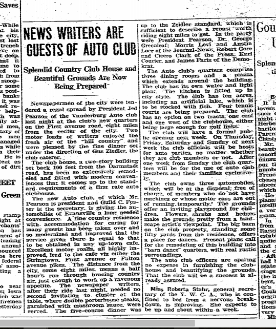 Article about the opening of the Vanderbug Auto Club (Evansville Courier 4/14/1915)