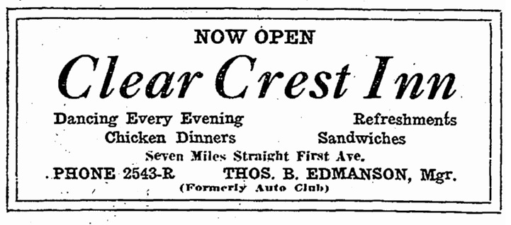 Ad for Clear Crest Inn 1920