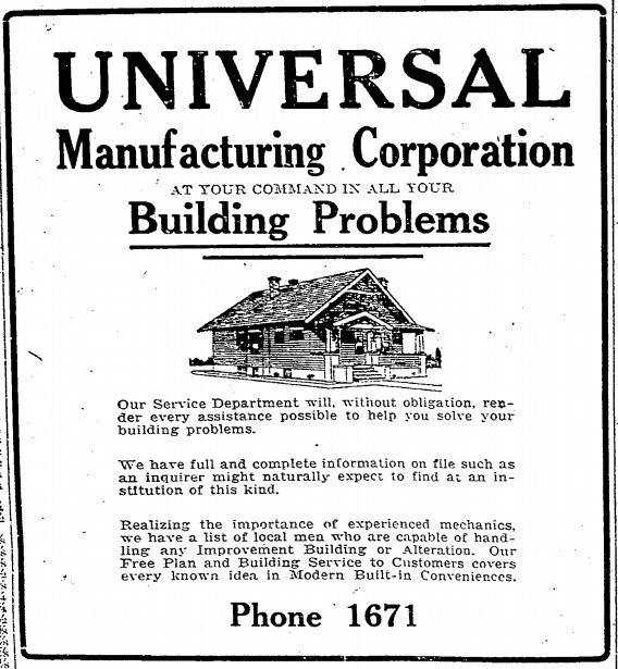 Universal Manufacturing ad 1919